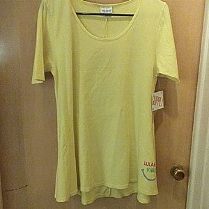Lularoe size s yellow tee shirt says vibez